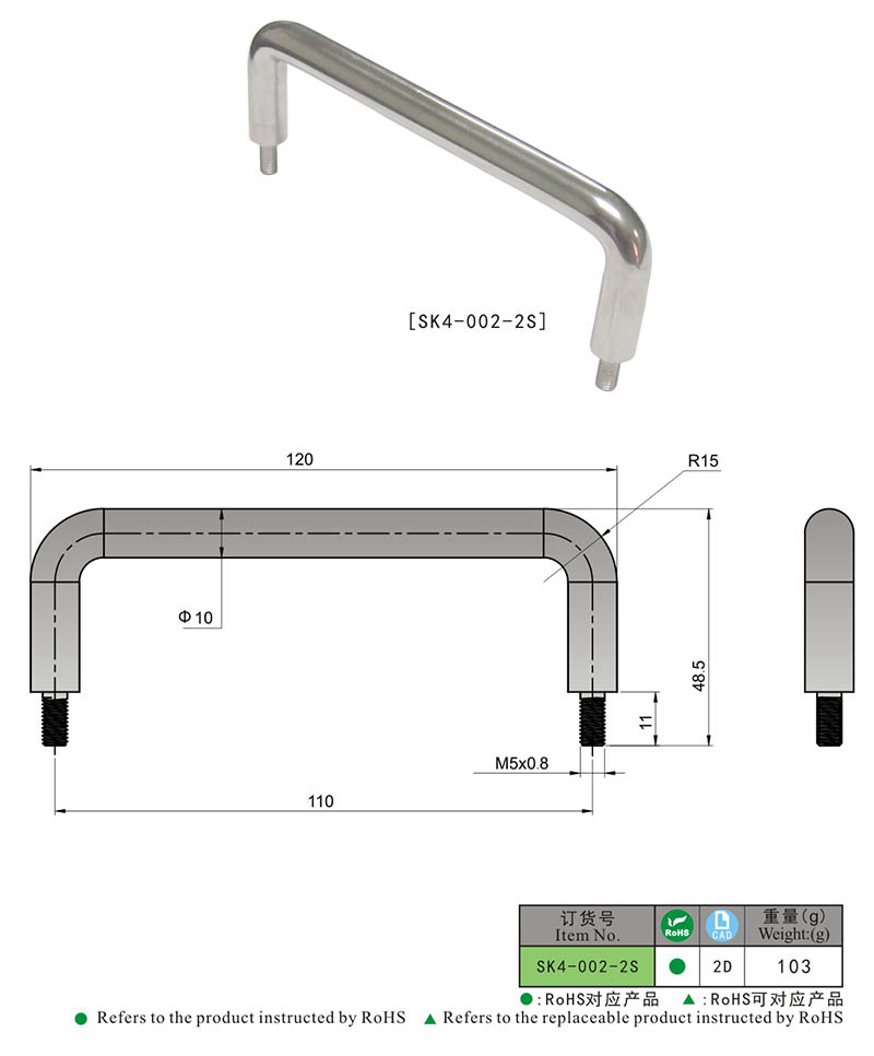 SK4-002-2S KUNLONG Industrial Stainless Steel Cabinet Handle